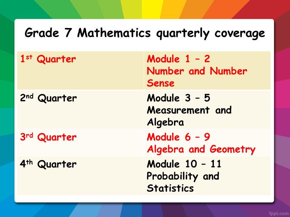 Mathematics Quarterly Coverage 1 St Quartermodule 1 2 Number And Number Sense 2 Nd Quartermodule 3 5 Measurement And Alge3 Rd