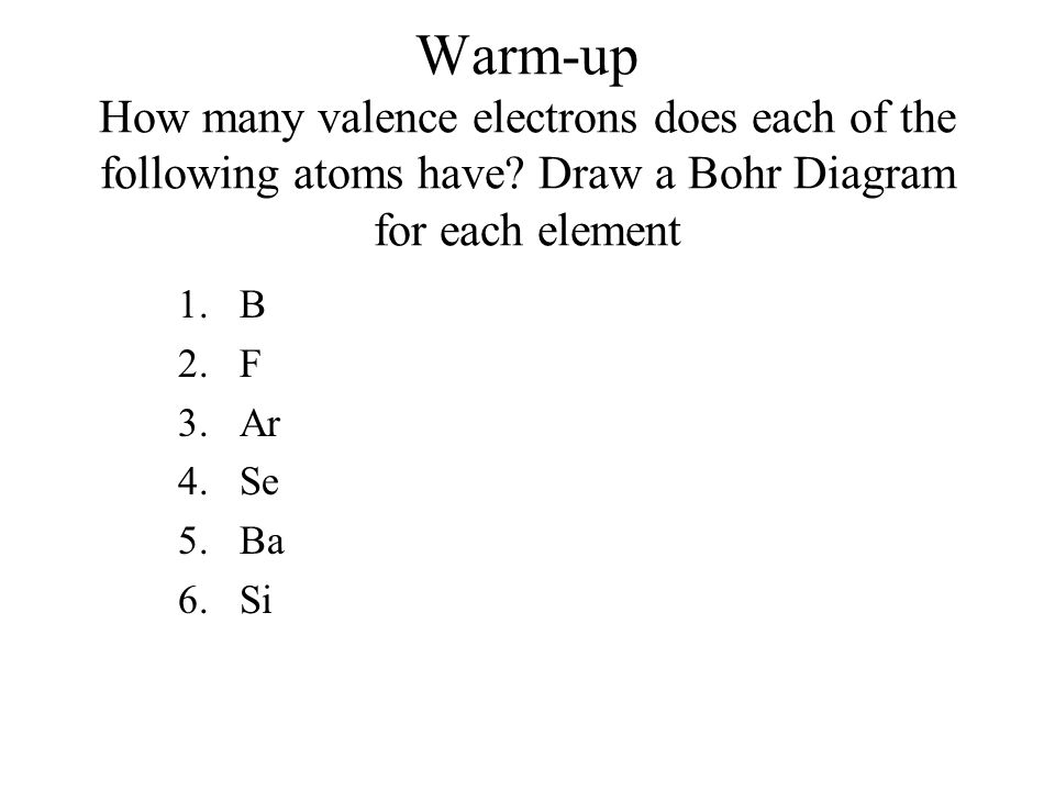 Warm Up How Many Valence Electrons Does Each Of The Following Atoms