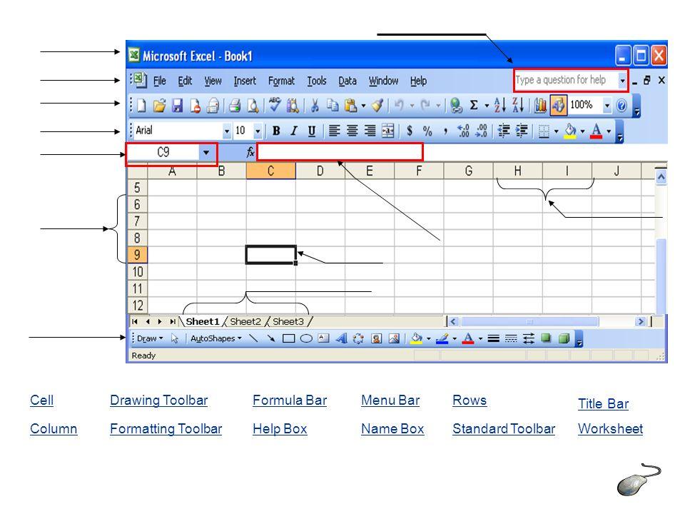 Cell Column Drawing Toolbar Formatting Toolbar Formula Bar ...