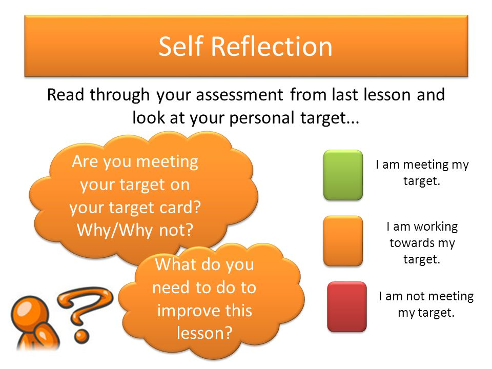 self reflection for group presentation For me self-reflection is the way to remove inner road-blocks, to first become aware of the things that really holding me back and then tackle them by finding a solution of course writing it down into a personal journal is the best way to do it.