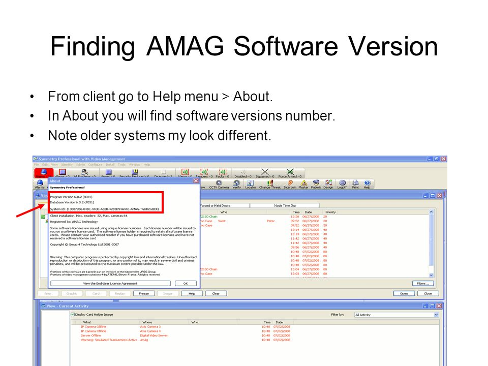 finding amag software version from client go to help menu u003e about rh slideplayer com Amag Access Card Reader Amag Security
