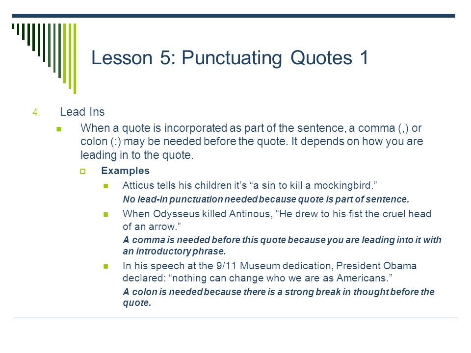 Lesson 5 Punctuating Quotes 1 Here Are The Basic Rules For