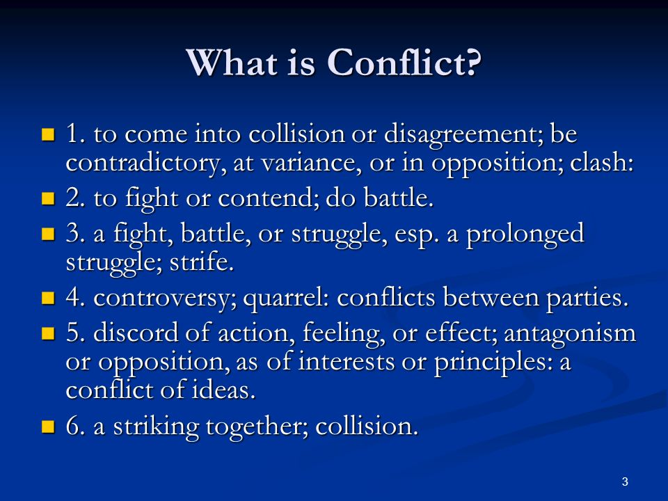 1 CONFLICT RESOLUTION TRAINING BY Shelby House  2 Purpose