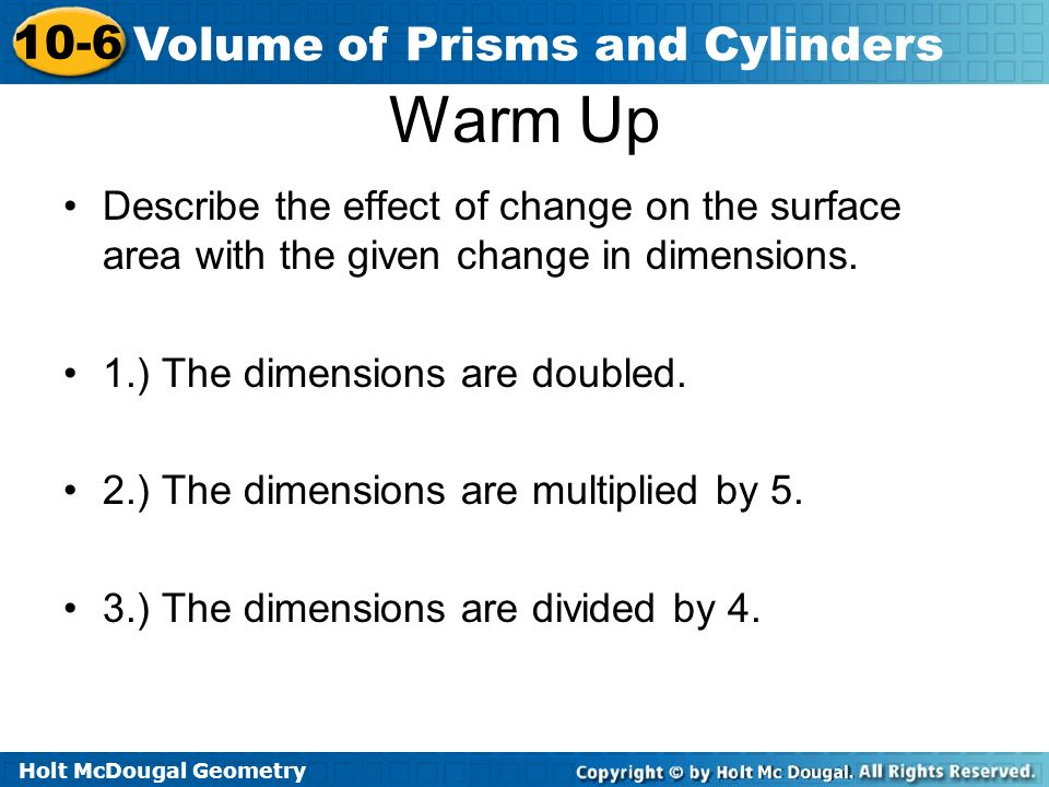 lesson 10-6 volume of prisms and cylinders problem solving
