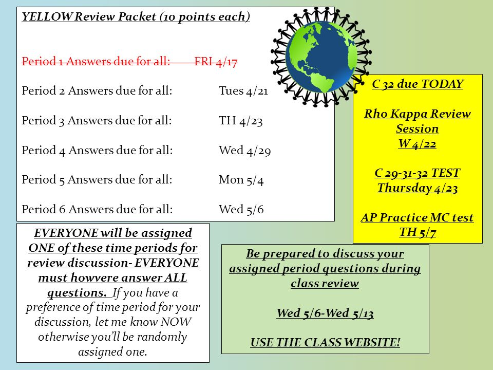 YELLOW Review Packet (10 points each) Period 1 Answers due