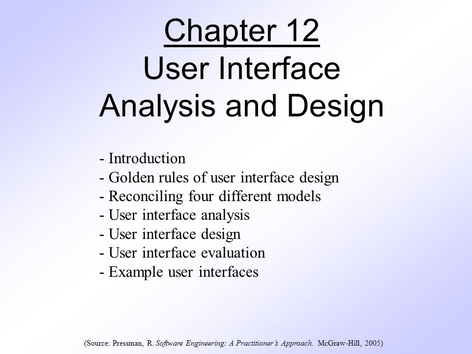 Chapter 12 User Interface Analysis And Design Introduction Golden Rules Of User Interface Design Reconciling Four Different Models User Interface Ppt Download