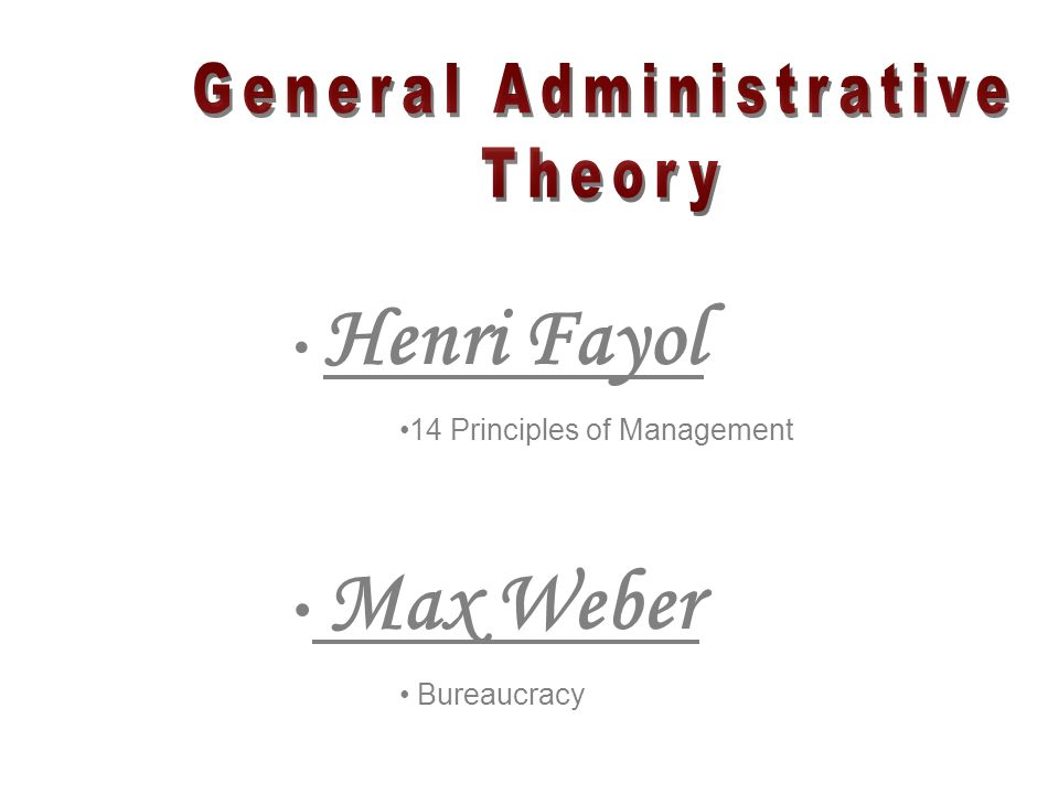 Henri Fayol 14 Principles of Management Max Weber Bureaucracy