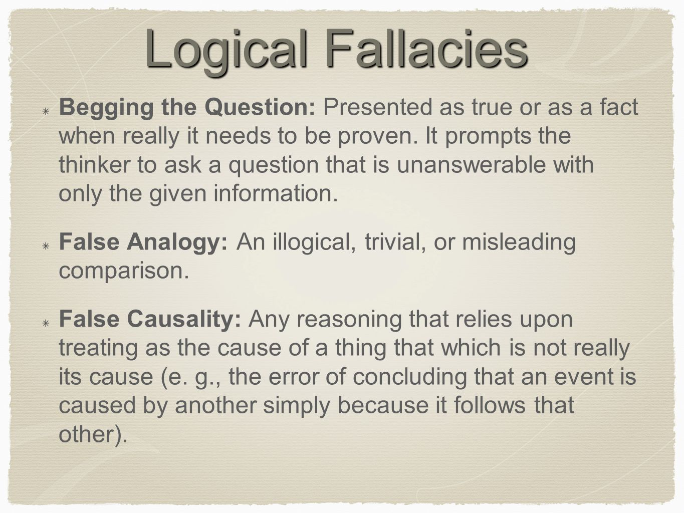 fallacy begging the question and highest Well, begging the question is a kind of fallacy that results when you can't have any reason for accepting the premises of the argument unless you right, because not all forms of begging the question are circularity let me give an example of begging the question that doesn't involve.