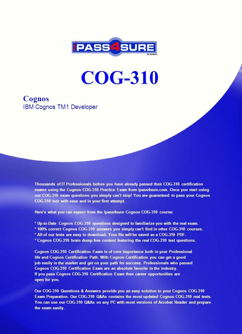 Cog 310 Cognos Ibm Cognos Tm1 Developer Thousands Of It