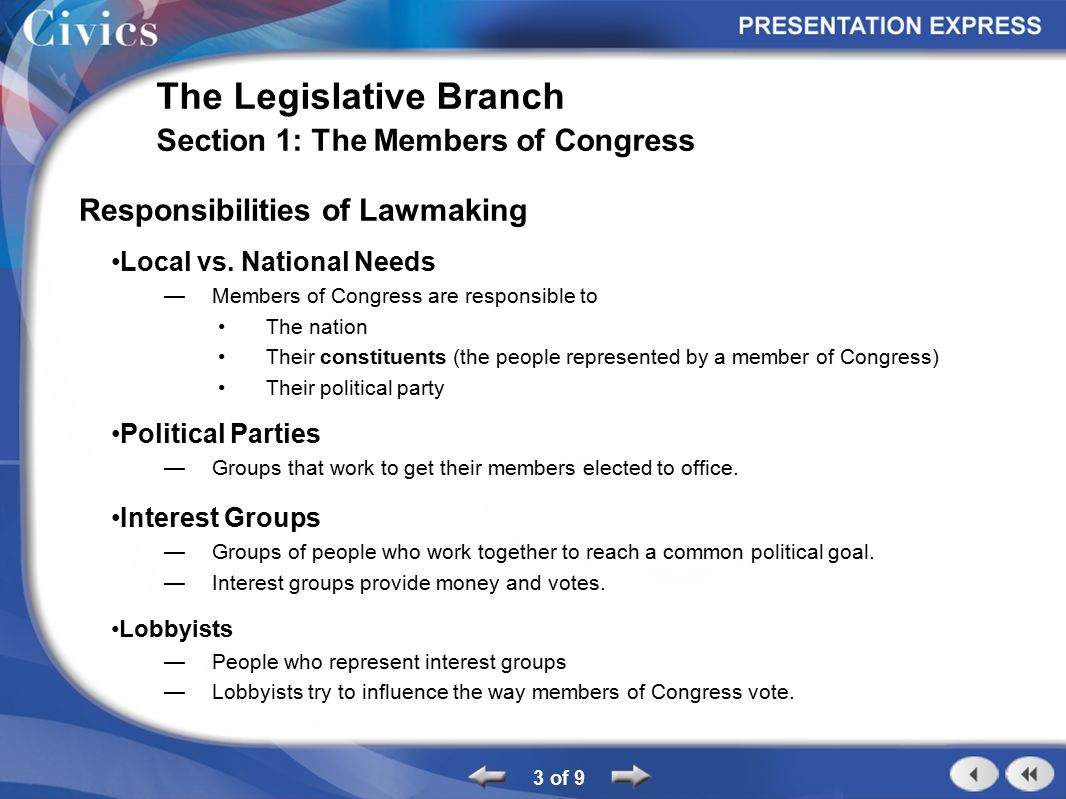 who is in charge of the legislative branch
