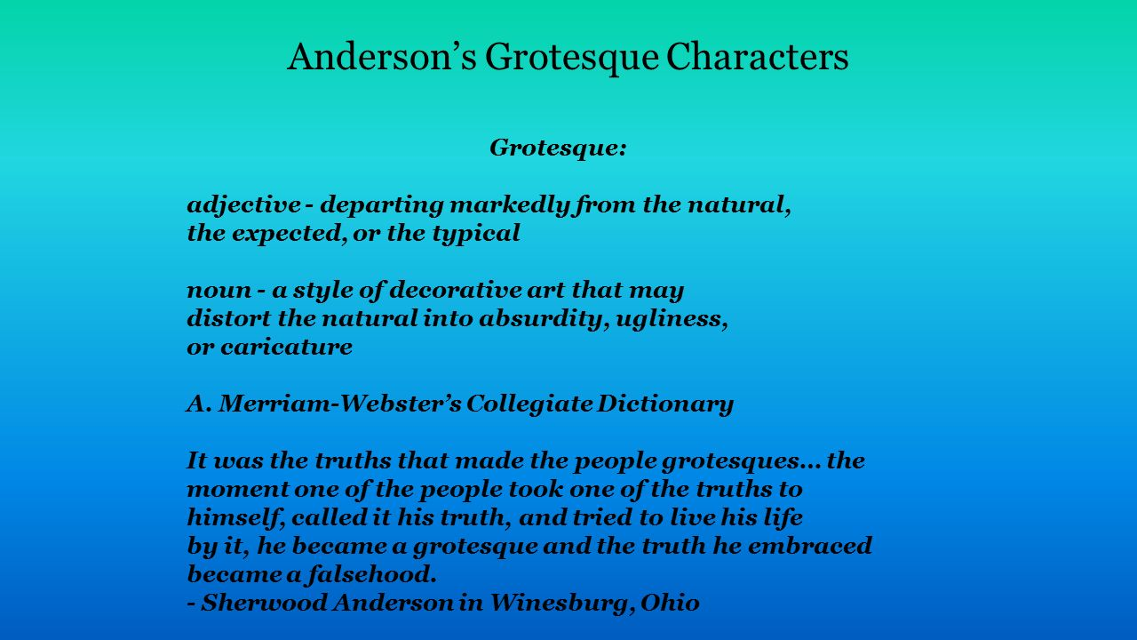 sherwood anderson grotesque