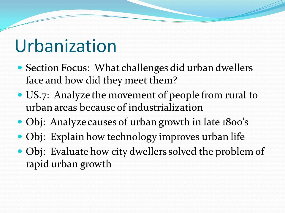 problems with urbanization in the late 1800s