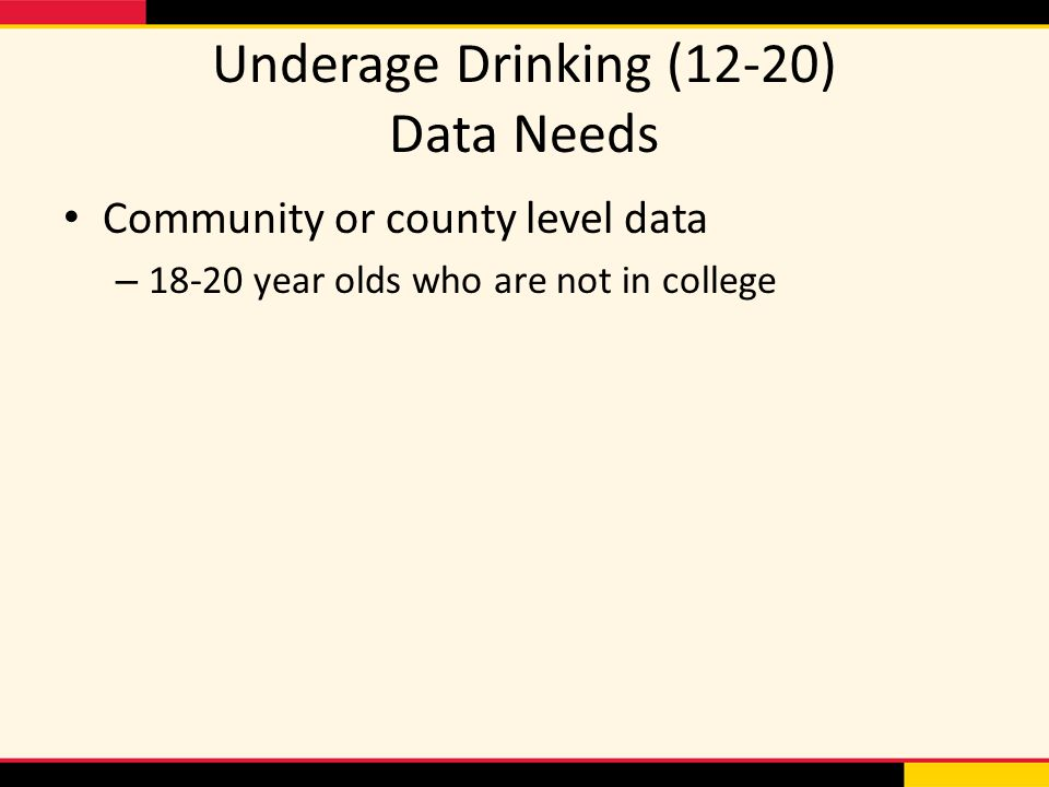 Underage Drinking (12-20) Data Needs Community or county level data – year olds who are not in college