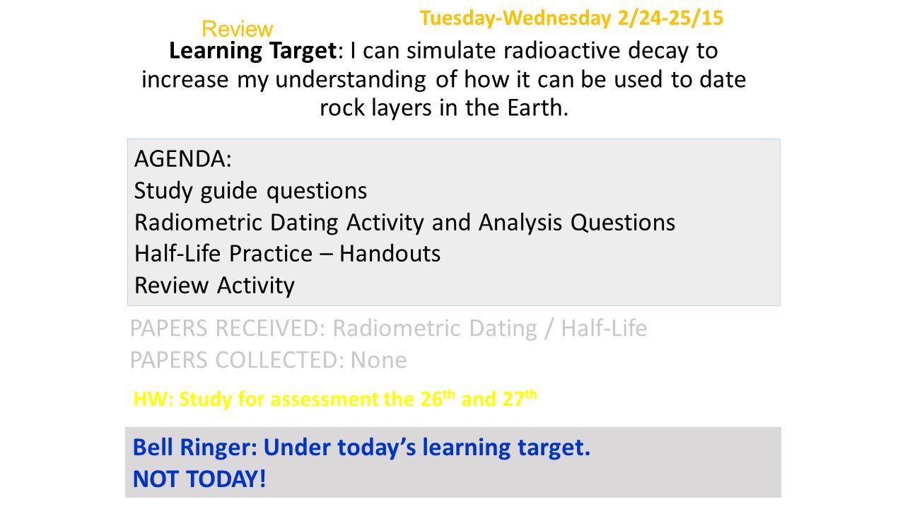 Explain radiometric dating fossils activity