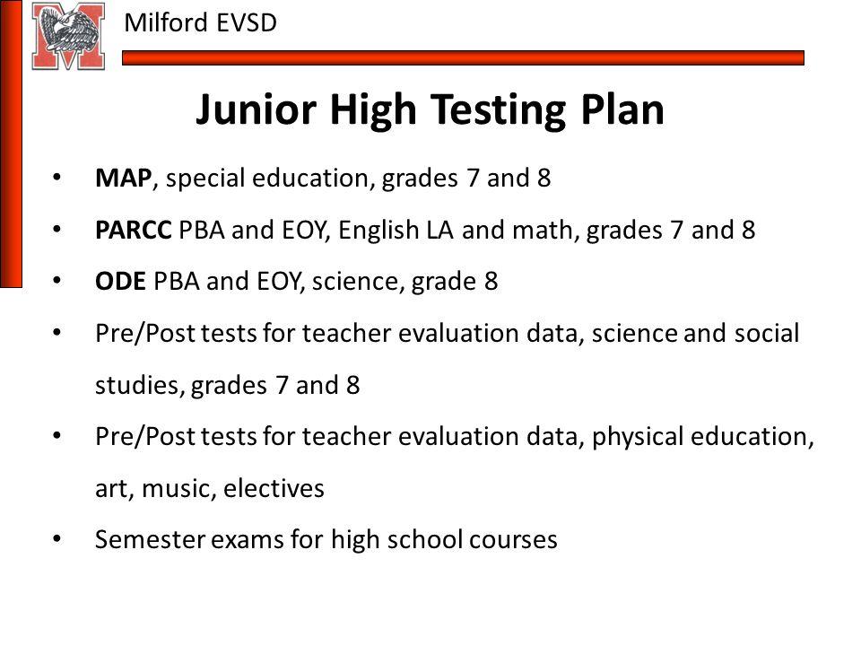Milford EVSD Milford School District Testing Plan for ppt