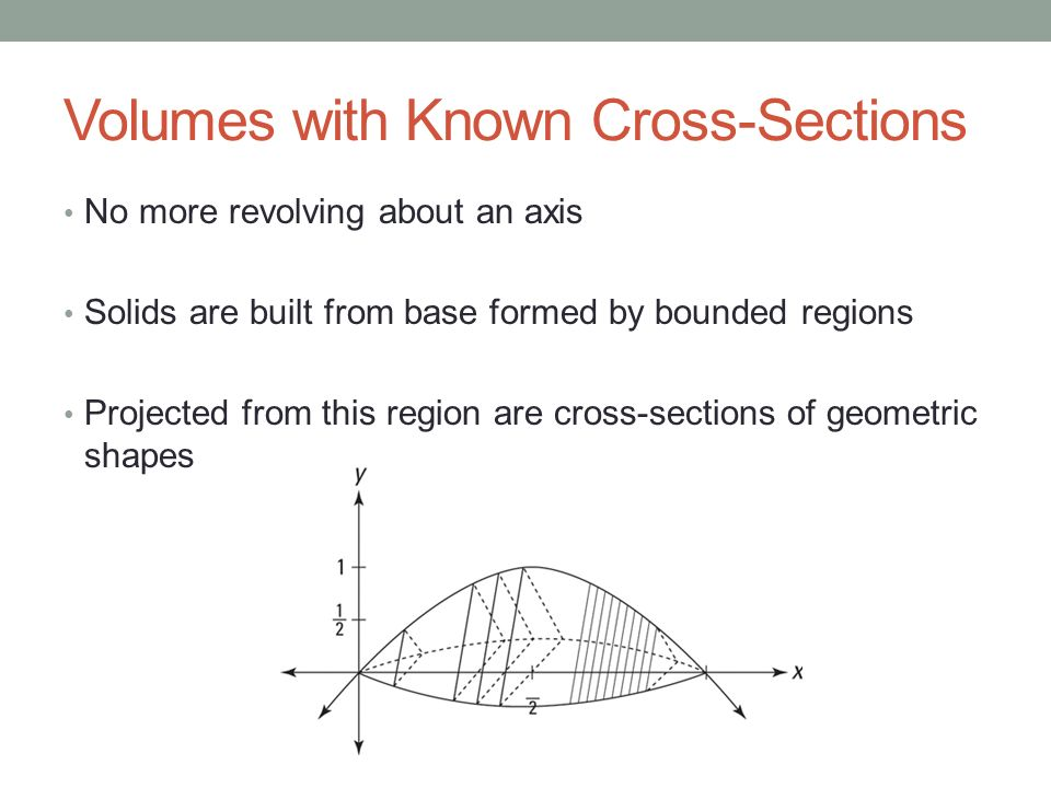 Section 73c Volumes Of Known Cross Sections Recall. 3 Volumes With Known Crosssections No More Revolving About An Axis Solids Are Built From Base Formed By Bounded Regions Projected This Region. Worksheet. Worksheet On Volume By Cross Sections At Mspartners.co