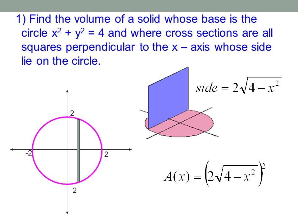 Section 73c Volumes Of Known Cross Sections Recall. 1 Find The Volume Of A Solid Whose Base Is Circle X 2. Worksheet. Worksheet On Volume By Cross Sections At Clickcart.co