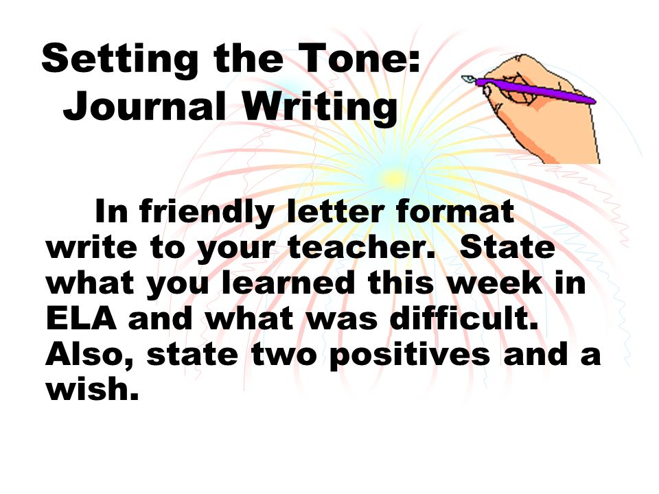 setting the tone journal writing in friendly letter format write to your teacher