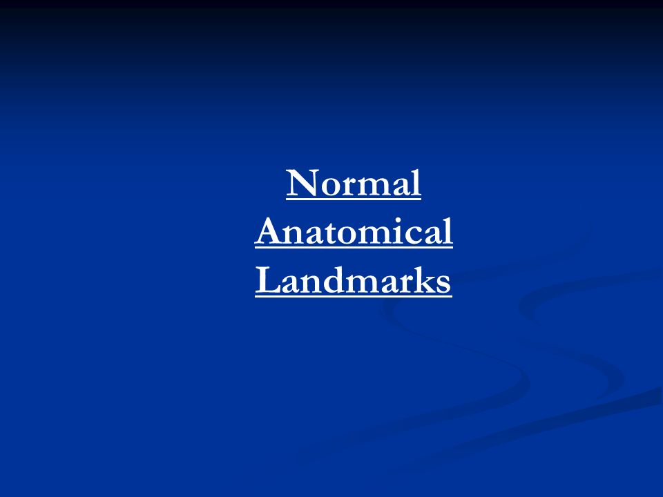 Normal Anatomical Landmarks  Anterior Maxilla Nasal fossa