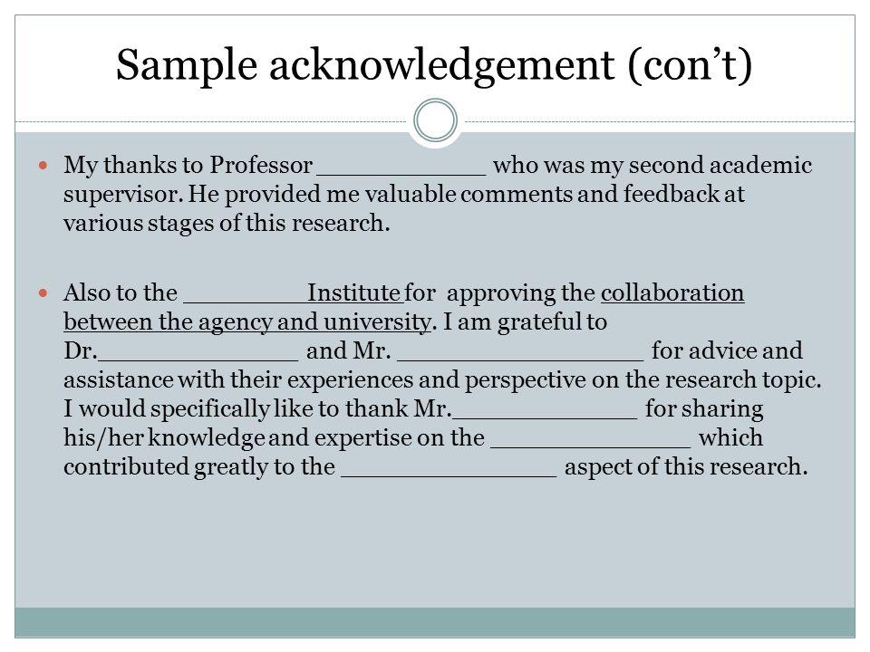 3 sample acknowledgement