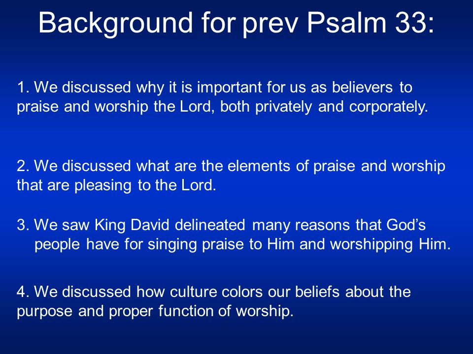 """Today's Sermon: Psalm 34, """"The Lord, a Provider and"""