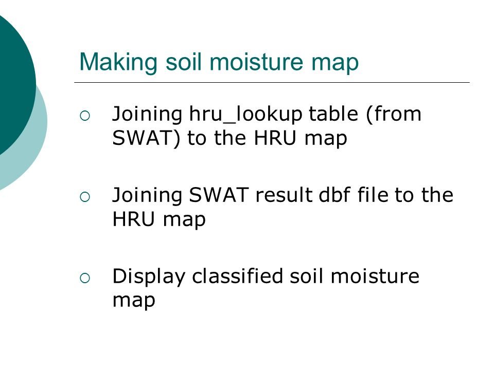 Mapping Of Soil Moisture Content By Swat And Gis Programming Yuri