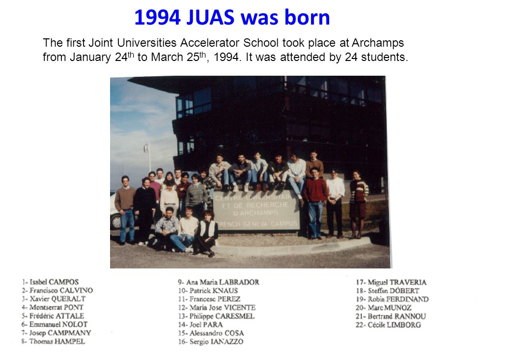 f5de8f9a6ac023 1994 JUAS was born The first Joint Universities Accelerator School took  place at Archamps from January