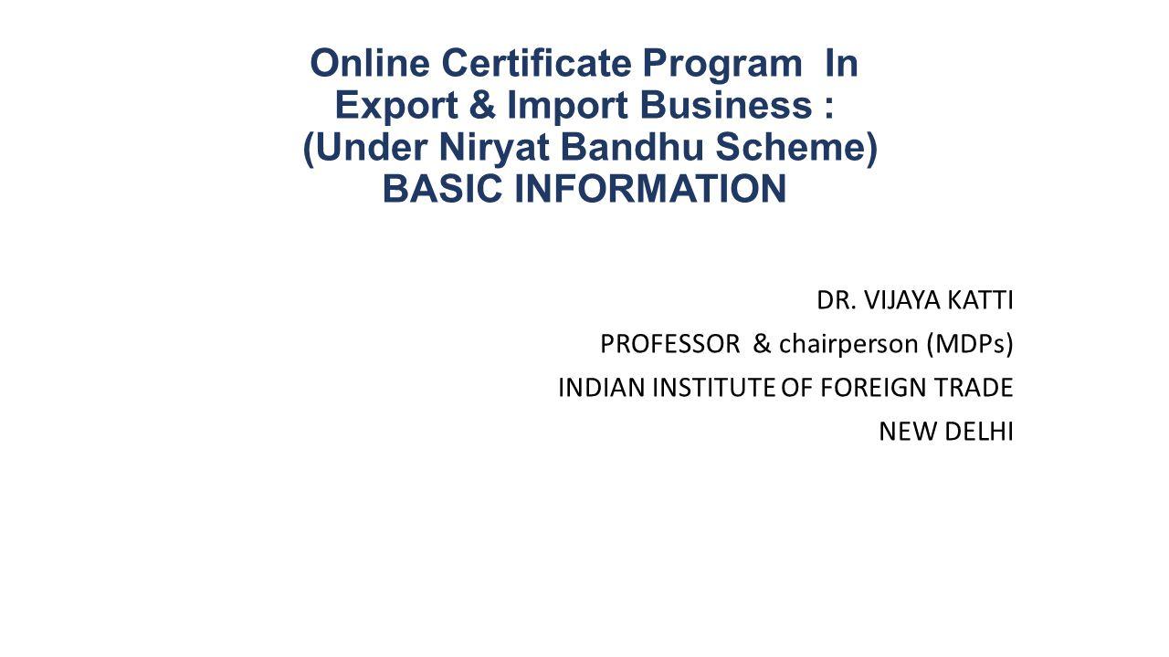 Online Certificate Program In Export Import Business Under