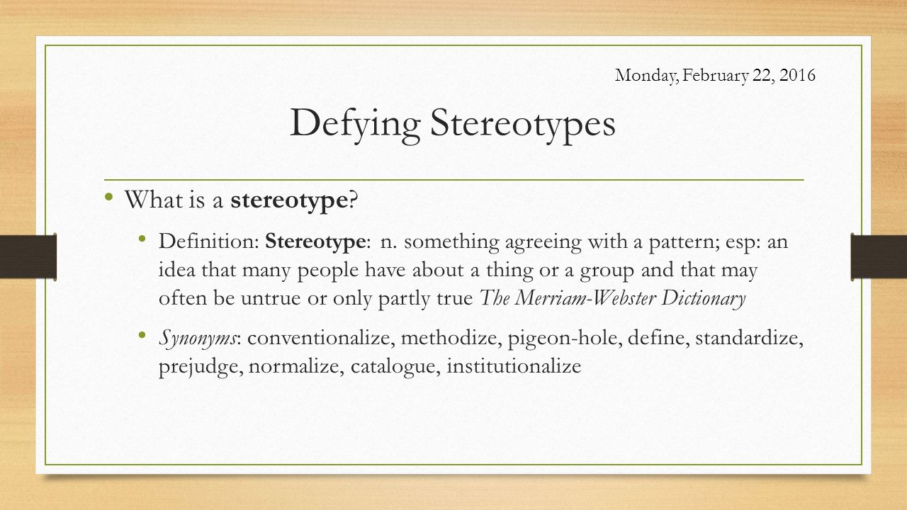 stereotype dictionary