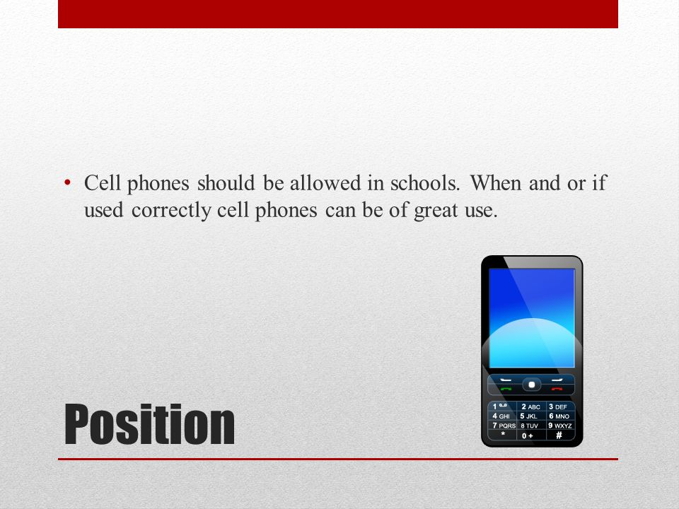 should students be able to use cellphones at school