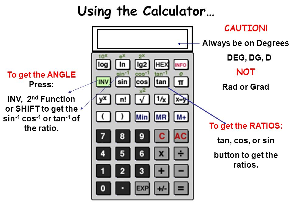 Topic: trigonometry ratios using the calculator… caution! Always.