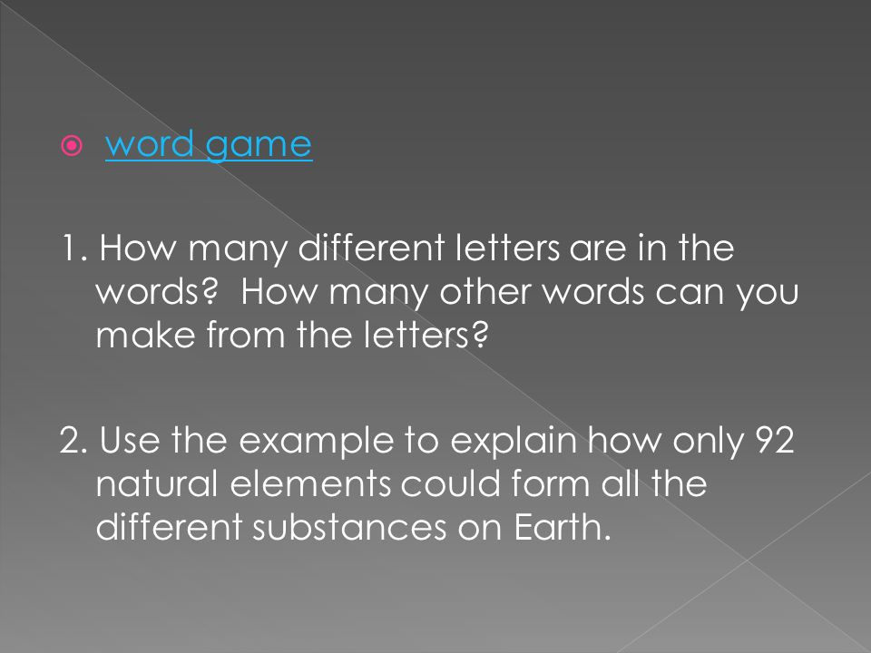 2 word gameword game 1 how many different letters are