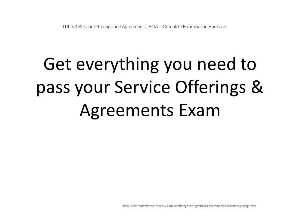 Itil V3 Service Offerings And Agreements Soa Complete