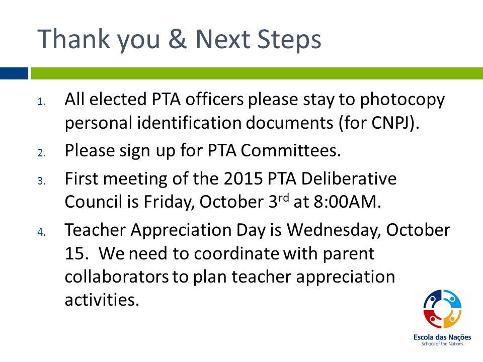 PTA/APM: Escola Das Nações (EdN)  Welcome & Review Agenda 1