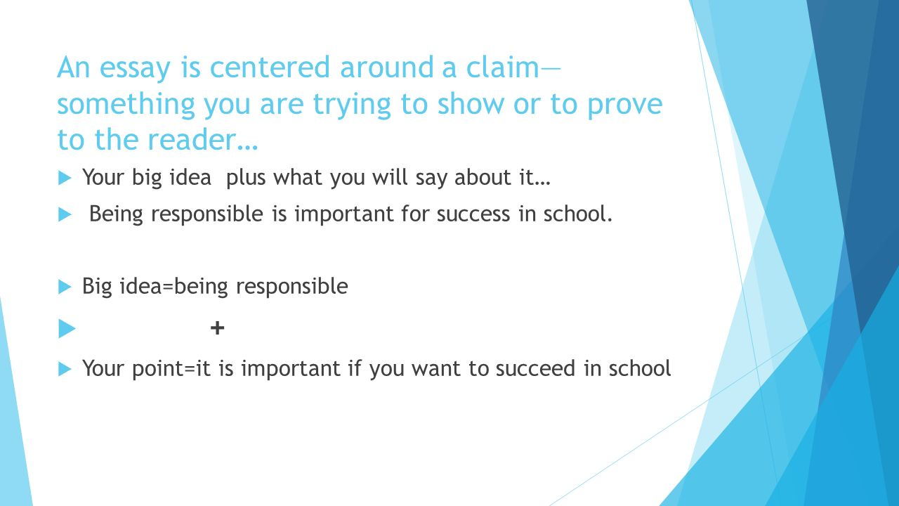 Compare And Contrast Essay On High School And College An Essay Is Centered Around A Claim Something You Are Trying To Show Or To Classification Essay Thesis Statement also Computer Science Essays Informative Essays Setting Up Our Claims And Ideas  Ppt Download Essay Thesis Statement Generator