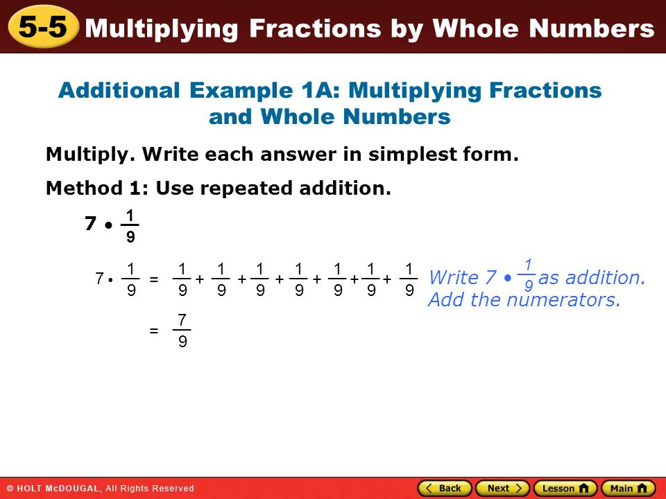 simplest form fraction with whole number  10-10 Multiplying Fractions by Whole Numbers Warm Up Warm Up ...