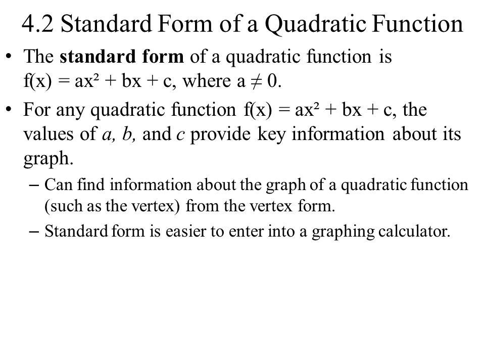 42 Standard Form Of A Quadratic Function The Standard Form Of A