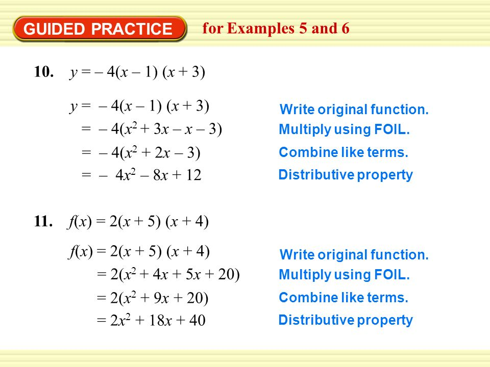 Example 5 Change From Intercept Form To Standard Form Write Y 2