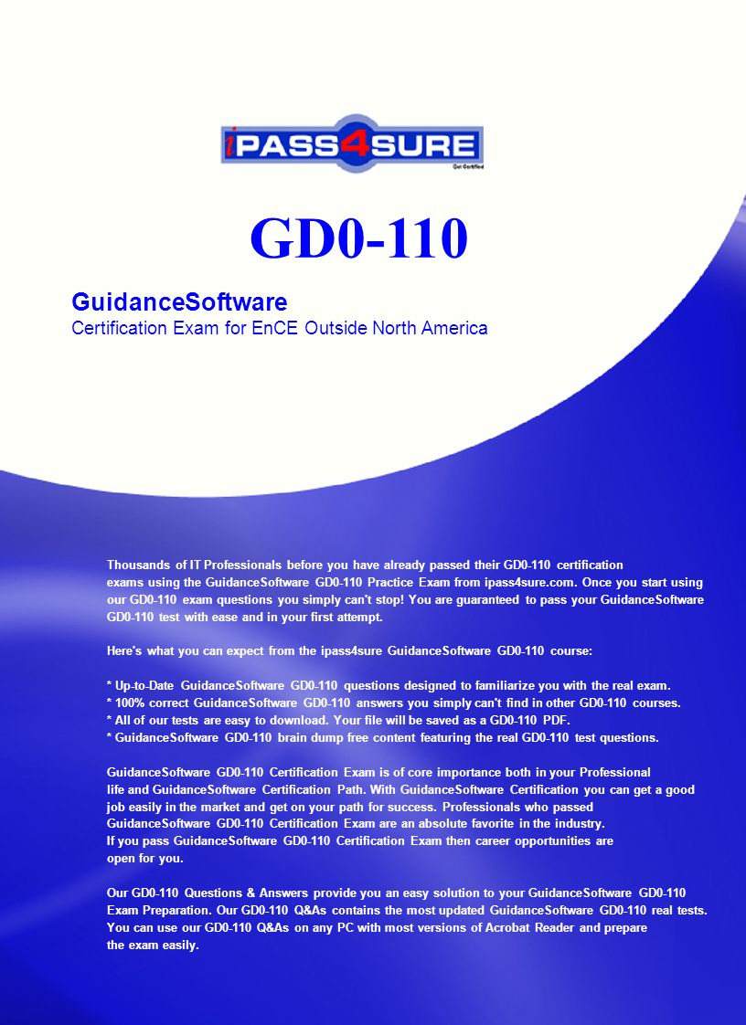 Gd0 110 Guidancesoftware Certification Exam For Ence Outside North