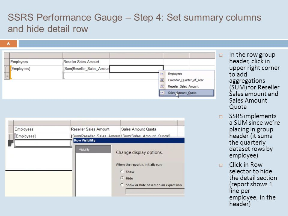 Report 1: SSRS Performance Gauge 1  Report that shows