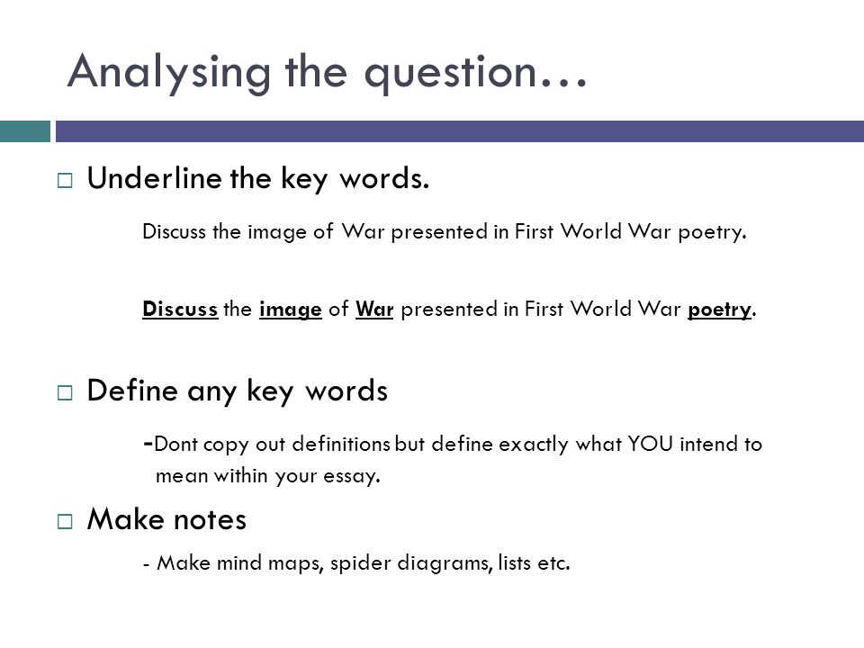 Essay writing a student guide analysing the question underline 2 analysing ccuart Image collections