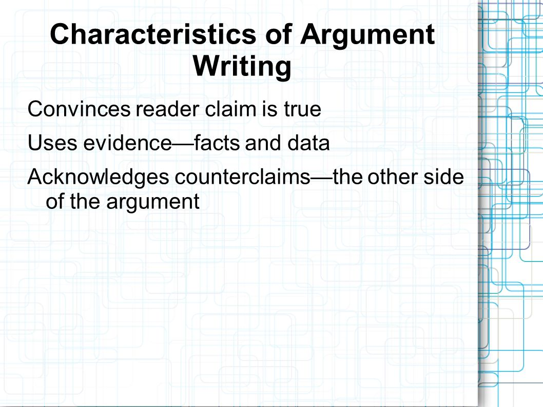 Research Essay Topics For High School Students  Characteristics Of Argument Writing Convinces Reader Claim Is True Uses  Evidencefacts And Data Acknowledges Counterclaimsthe Other Side Of The  Argument English Essays On Different Topics also High School English Essay Topics The Argumentative Essay Introducing The Counter Argument And  Essay Com In English