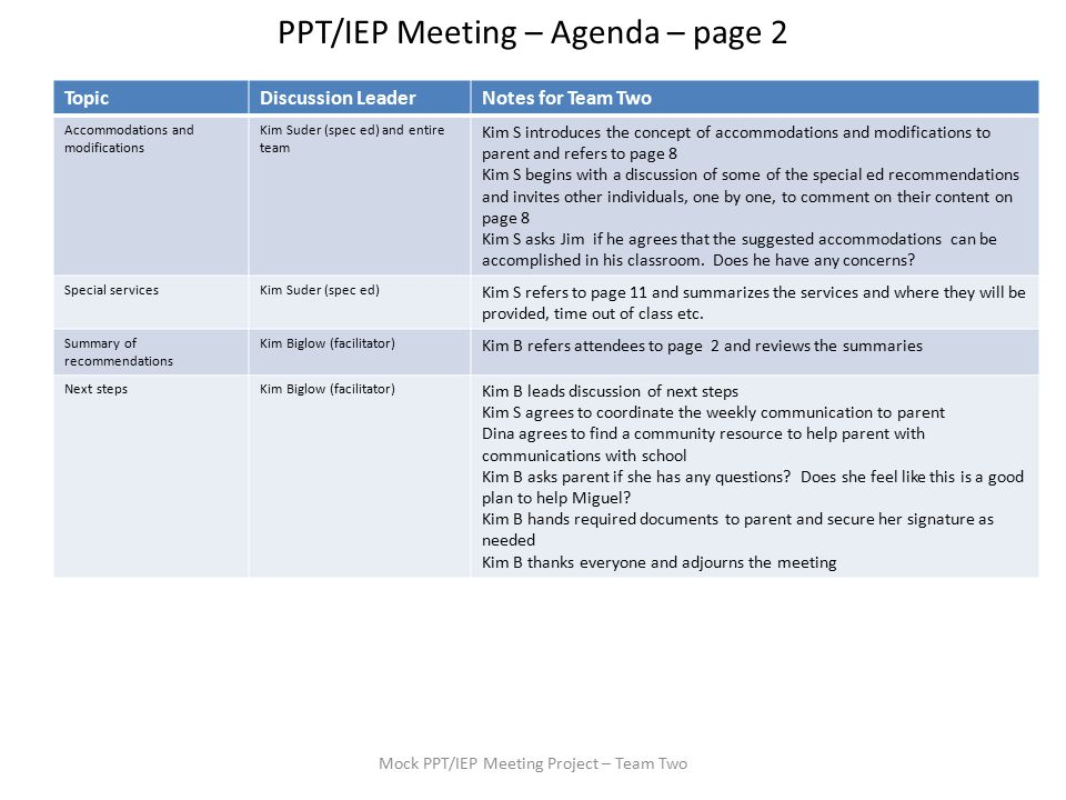 Ppt Iep Meeting Agenda Page 1 Mock Ppt Iep Meeting