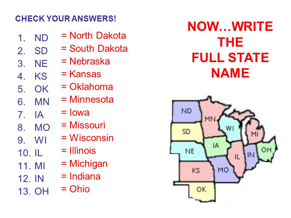 Midwestern States Number Your Paper 1 13 Write The Correct Postal