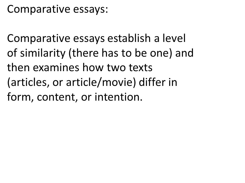 Public Health Essay  Comparative Essays Comparative Essays Establish A Level Of Similarity  There Has To Be One And Then Examines How Two Texts Articles Or  Articlemovie  Research Essay Proposal Sample also English Essay My Best Friend Essay Writing Comparative Essays Comparative Essays Establish A  Argumentative Essay Thesis Statement