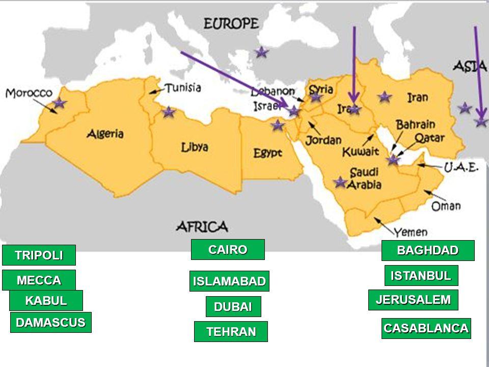 MECCA JERUSALEM DAMASCUS ISLAMABAD TRIPOLI CAIRO BAGHDAD KABUL DUBAI on pyongyang on world map, sydney world map, new delhi world map, tehran world map, samarkand world map, herat world map, algiers world map, kolkata world map, lima world map, yerevan world map, novosibirsk world map, kathmandu world map, buenos aires world map, riyadh world map, khartoum world map, rabat world map, damascus world map, jakarta world map, cairo world map, baku on world map,