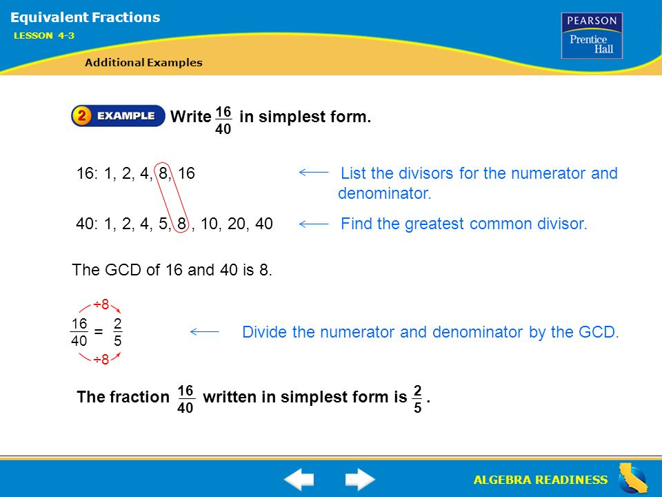 simplest form 16/40  ALGEBRA READINESS LESSON 11-11 Warm Up Lesson 11-11 Warm Up ...