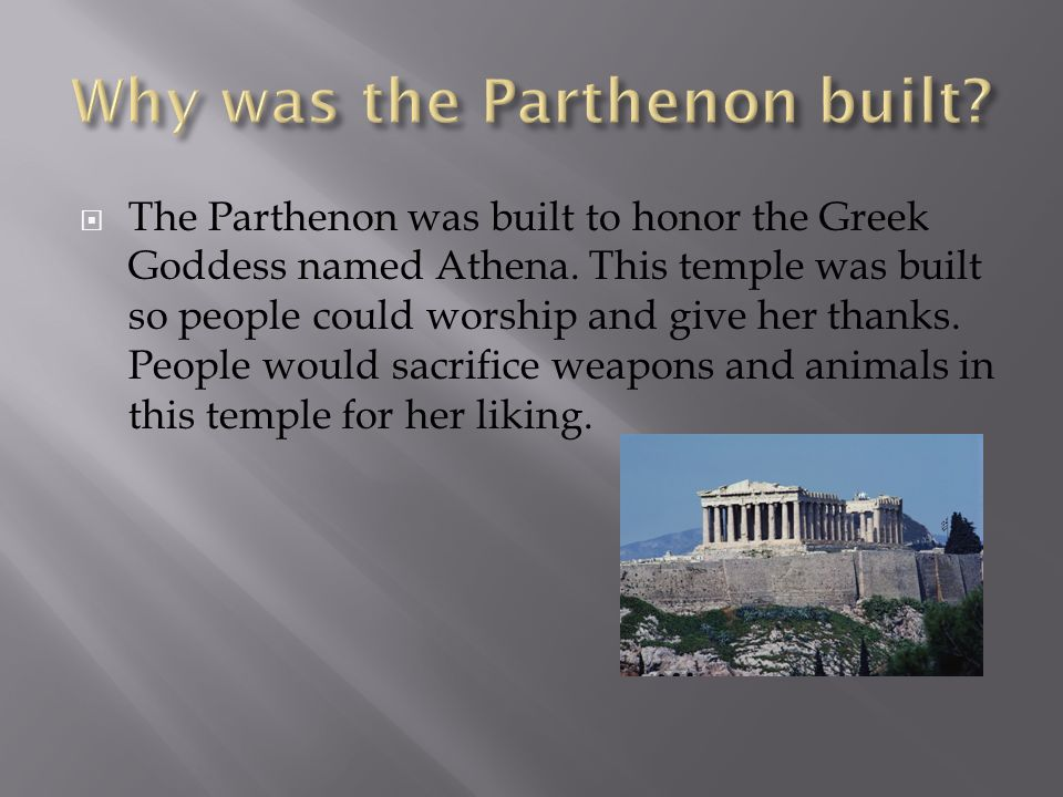 what goddess was the parthenon built for