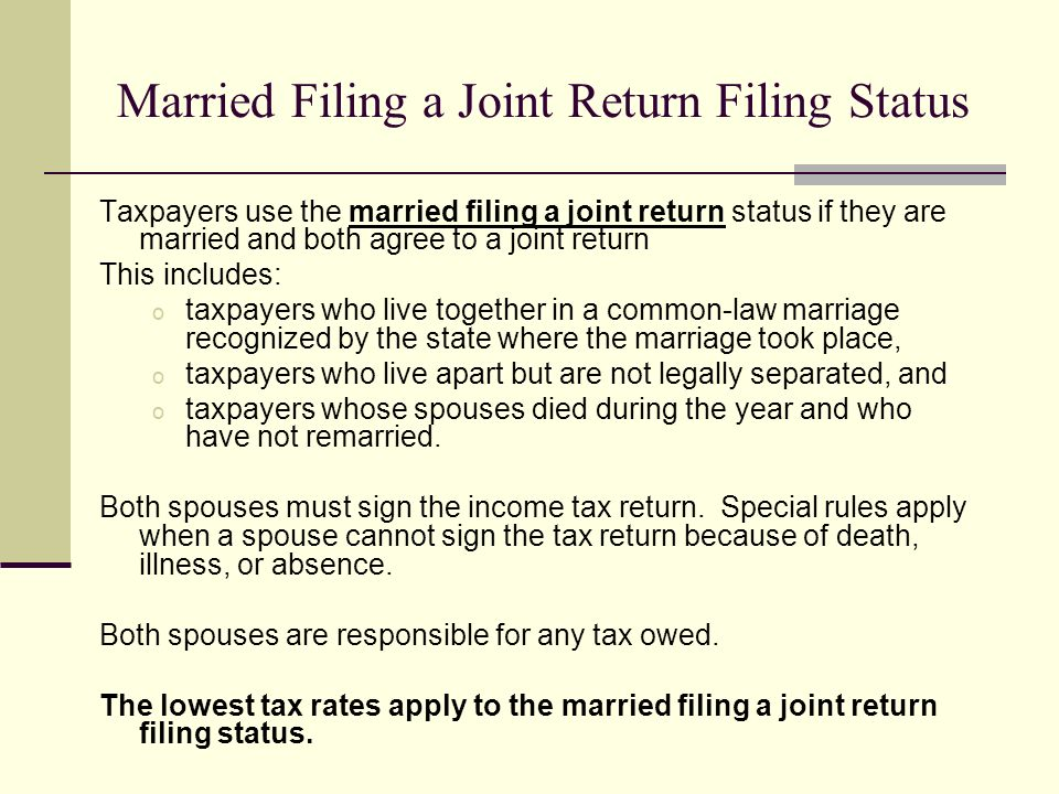 Filing taxes common law marriages
