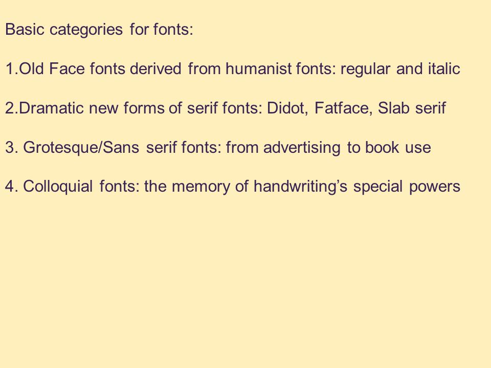Typefaces and Typestyles History of the Book  Basic
